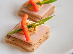 Red pepper hummus and turkey mini sandwiches